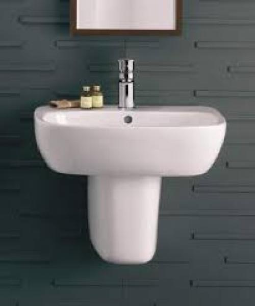 Twyford Galerie Plan Rectangular Basin With Semi Pedestal - 650mm