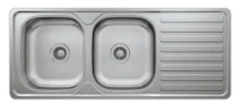 May Stainless Kitchen Sink Double Bowl Single Drain 1160 X 500mm With Waste And Bottle Trap-cabinet
